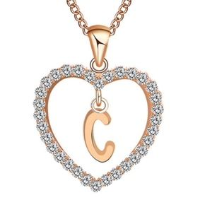Jewelry - Gold Letter C Initial Pave Crystal Heart Necklace